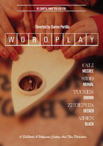 Award-nominated Film Wordplay. Poster designer Sandra Lena. Award-nominated Director Darren Portilla. Video Editor Sandra Lena